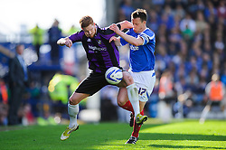 Matt Harrold (ENG) of Bristol Rovers is challenged by Nicky Shorey (ENG) of Portsmouth - Photo mandatory by-line: Rogan Thomson/JMP - 07966 386802 - 19/04/2014 - SPORT - FOOTBALL - Fratton Park, Portsmouth - Portsmouth FC v Bristol Rovers - Sky Bet Football League 2.