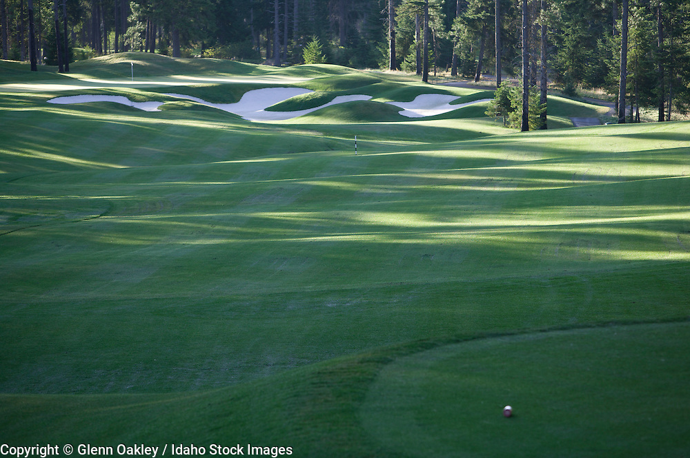 Coeur d' Alene golf course tucked into the surrounding pines in northern Idaho