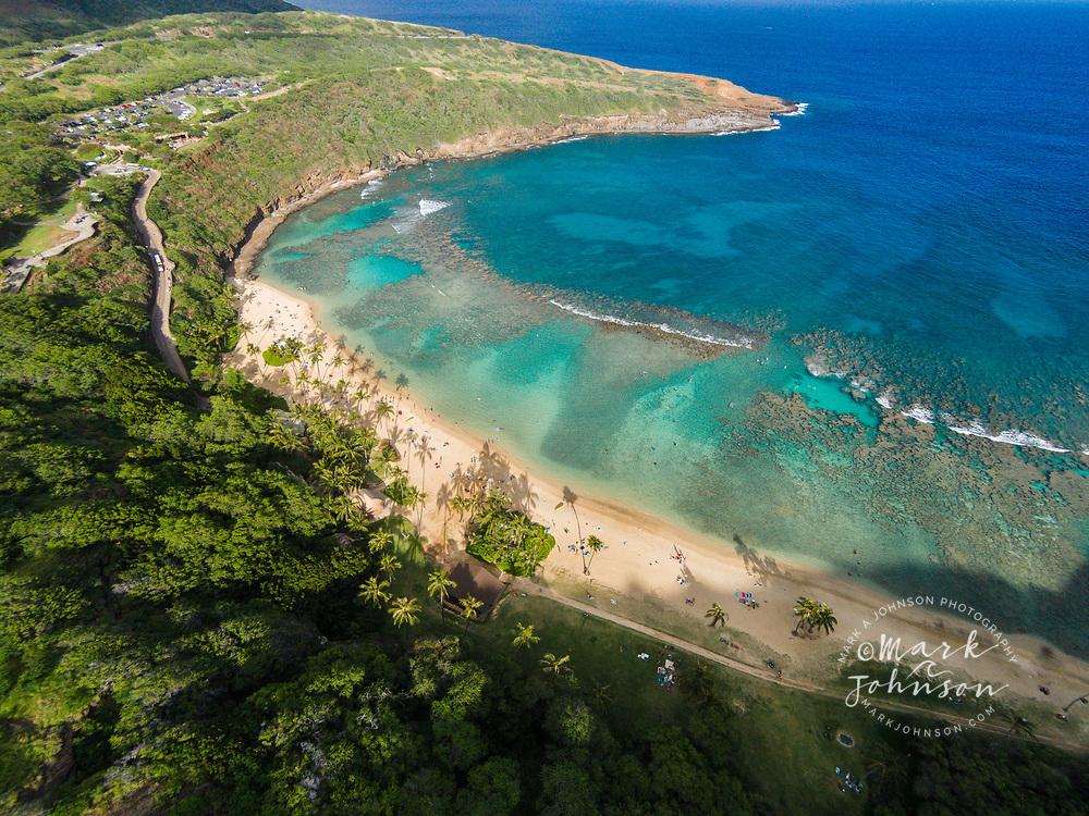 Aerial photograph of Hanauma Bay Nature Preserve, Oahu, Hawaii