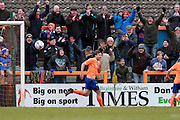 Braintree fans celebrate after Michael Cheek scores during the Vanarama National League match between Braintree Town and Cheltenham Town at the Amlin Stadium, Braintree, United Kingdom on 19 March 2016. Photo by Carl Hewlett