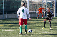 Trival Valderas's Palacios and Real Madrid Castilla´s  Guillermo Varela and Ruben Yanez during 2014-15 Spanish Second Division B match between Trival Valderas and Real Madrid Castilla at La Canaleja stadium in Alcorcon, Madrid, Spain. February 01, 2015. (ALTERPHOTOS/Luis Fernandez)