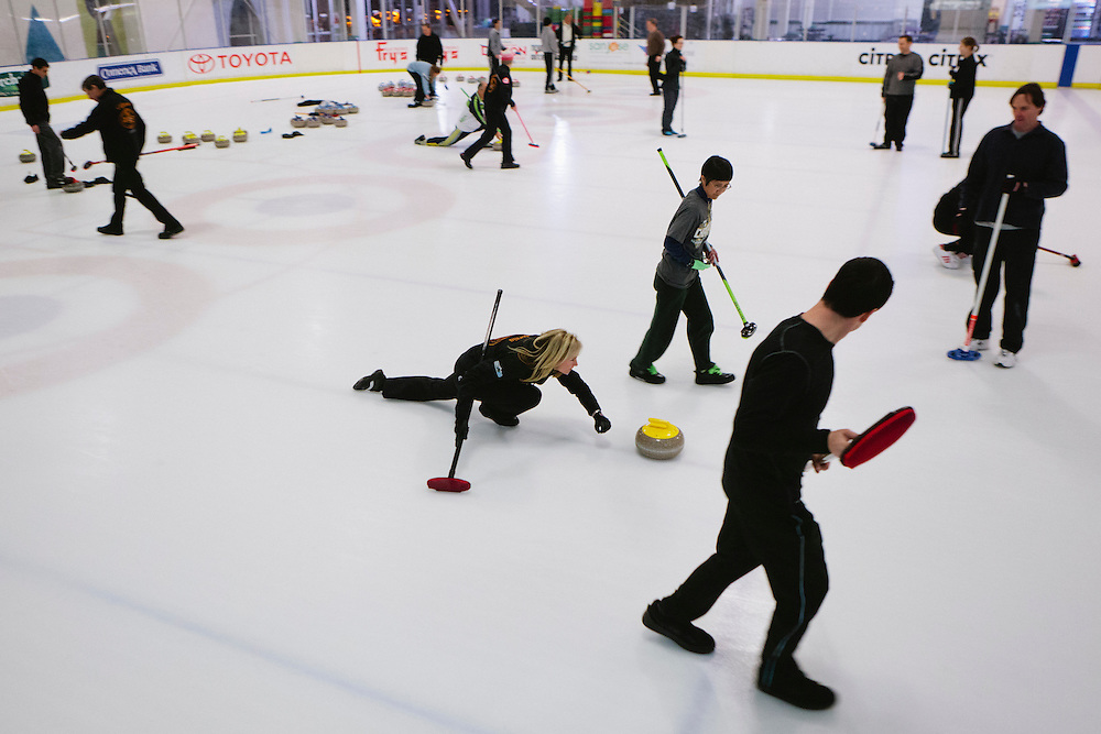 Curling teams play at Sharks Ice in San Jose during the San Francisco Bay Area Curling Club's Tuesday night league on Jan.15, 2013.