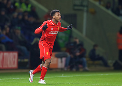 BOLTON, ENGLAND - Wednesday, February 4, 2015: Liverpool's substitute Daniel Sturridge enters the field during the FA Cup 4th Round Replay match against Bolton Wanderers at the Reebok Stadium. (Pic by David Rawcliffe/Propaganda)