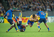 London, Great Britain,   Romanian wing, Madalin LEMNARU's crash ball run comes to an end, during the Pool d game,  France vs Romania. 2015 Rugby World Cup. Venue. The Stadium Queen Elizabeth Olympic Park. Stratford. East London. England,, Wednesday  23/09/2015. <br /> [Mandatory Credit; Peter Spurrier/Intersport-images]