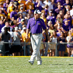 Oct 2, 2010; Baton Rouge, LA, USA; LSU Tigers head coach Les Miles during the first half against the Tennessee Volunteers at Tiger Stadium.  Mandatory Credit: Derick E. Hingle