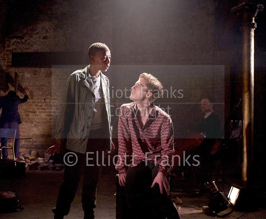 Carmen Disruption <br /> at Almeida Theatre, London, Great Britain <br /> press photocall<br /> 16th April 2015 <br /> <br /> Jack Farthing as Carmen <br /> <br /> Noma Dumezweni as Don Jose <br /> <br /> <br /> <br /> <br /> Photograph by Elliott Franks <br /> Image licensed to Elliott Franks Photography Services