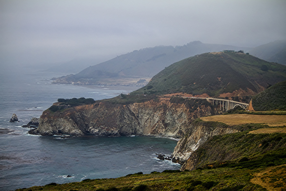 Looking north on Route 1 towards the Bixby Creek Bridge