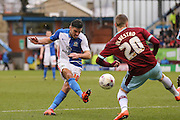 Blackburn Rovers midfielder Ben Marshall (10)  with a shot  during the Sky Bet Championship match between Burnley and Blackburn Rovers at Turf Moor, Burnley, England on 5 March 2016. Photo by Simon Davies.