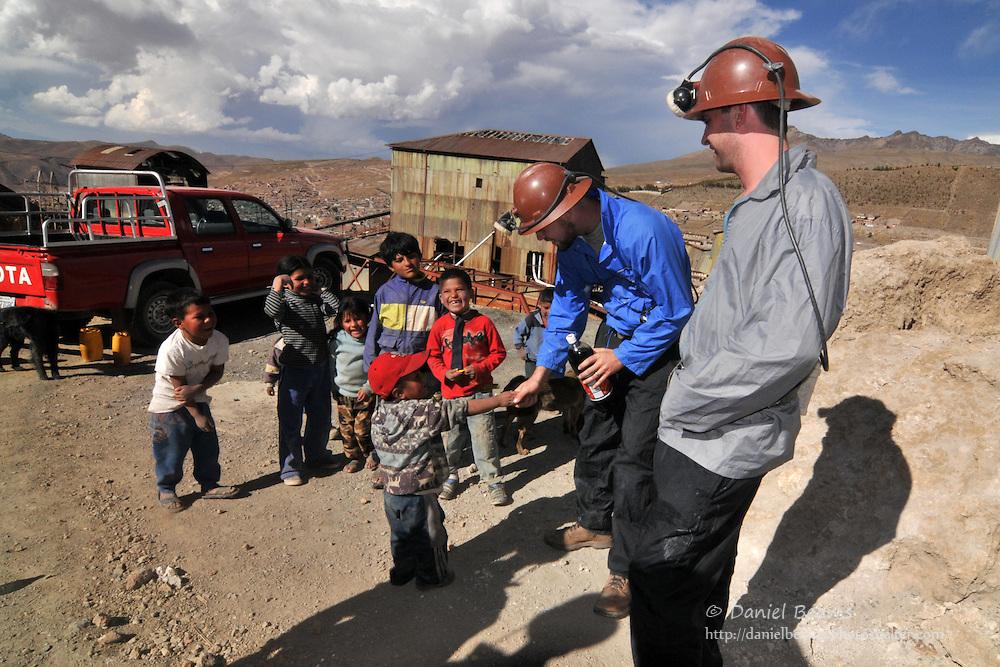 Preparing for a tour the Potosi silver mines in Potosi, Bolivia