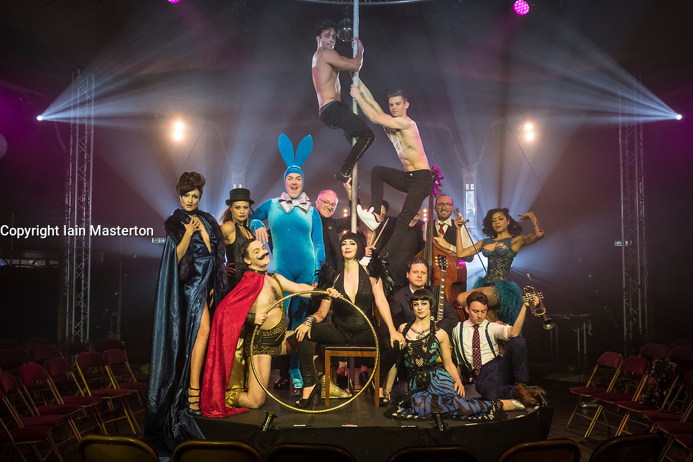 Edinburgh, Scotland, United Kingdom. 21November, 2017. Cabaret group Le Clique present their Christmas show Le Clique Noel at the Spiegeltent in Edinburgh as part of the city's annual Christmas festivities. A group photo with the cast and band members of La Clique Noel.