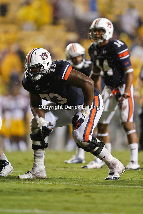 Sep 21, 2013; Baton Rouge, LA, USA; Auburn Tigers offensive linesman Greg Robinson (73) against the LSU Tigers during the second half of a game at Tiger Stadium. LSU defeated Auburn 35-21. Mandatory Credit: Derick E. Hingle-USA TODAY Sports
