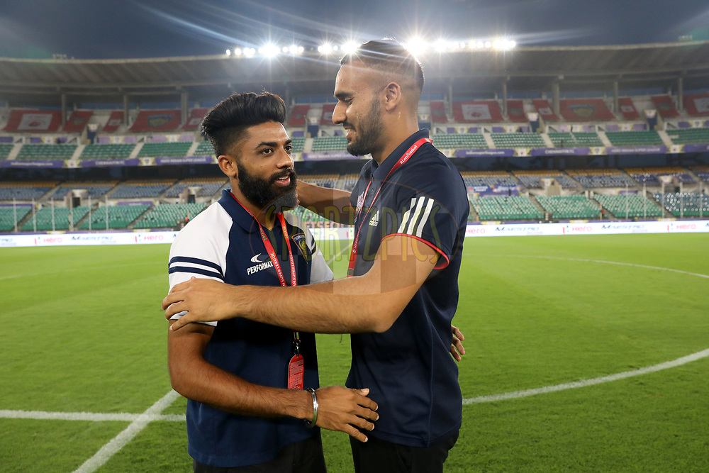 Players before the match 45 of the Hero Indian Super League between NorthEast United FC and ATK  held at the Indira Gandhi Athletic Stadium, Guwahati India on the 12th January 2018<br /> <br /> Photo by: Arjun Singh  / ISL / SPORTZPICS
