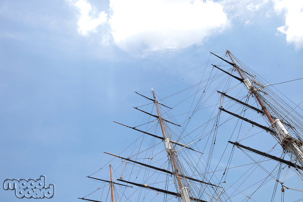 Low angle view of three masted ship against sky