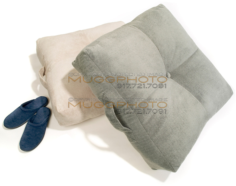 velure floor pillow and navy slipper