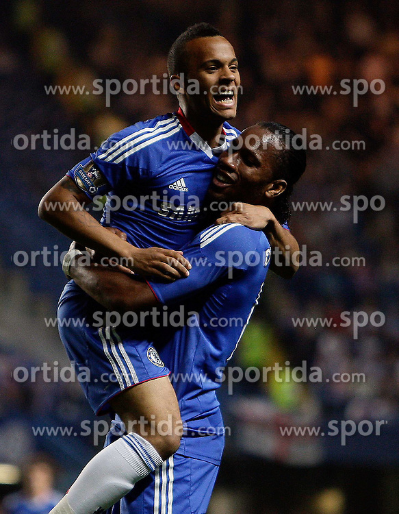 20.04.2011, Stamford Bridge, London, ENG, PL, FC Chelsea vs Birmingham City, im Bild RYAN BERTRAND OF CHELSEA is congratulated by Didier Drogba of Chelsea  for the assist of the third goal by Florent Malouda of Chelsea during Chelsea v Birmingham City for the EPL at Stamford Bridge   in London  on 20/04/2011. EXPA Pictures © 2011, PhotoCredit: EXPA/ IPS/ Marcello Pozzetti +++++ ATTENTION - OUT OF ENGLAND/UK and FRANCE/FR +++++