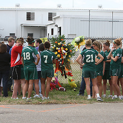 (Shot on March 6, 2009) Students from Southeastern University gather Friday afternoon in memorial of fellow students that were killed while walking home shortly after 2:00am on the morning of March 6, 2008 on Nashville Street in Hammond, Louisiana after a drunk driver hit five students killing three and critically injuring one and leaving one student with minor injuries, the driver identified as 21-year-old Derek Quebedeaux also a Southeastern student was arrested by Hammond Police.. (Photo by: Derick Hingle)