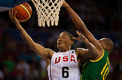 30.08.2010, Abdi Ipekci Arena, Istanbul, TUR, 2010 FIBA World Championship, USA vs Brasil, im Bild .Derrick Rose of USA vs Leandro Barbosa of Brasil during the Preliminary Round - Group B basketball match. EXPA Pictures © 2010, PhotoCredit: EXPA/ Sportida/ Vid Ponikvar *** ATTENTION *** SLOVENIA OUT!