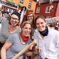 REPRO FREE<br /> 'The Pirates' from Kinsale, Siobhan Howe, Vicky Curtin, Grace Birmingham and Gwen Burchell, ready for the race at the RNLI Raft Race in Kinsale on Saturday of the Bank Holiday Weekend<br /> Picture. John Allen
