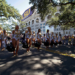 Oct 2, 2010; Baton Rouge, LA, USA; The LSU Tiger Band performs outside prior to kickoff of a game between the LSU Tigers and the Tennessee Volunteers at Tiger Stadium.  Mandatory Credit: Derick E. Hingle