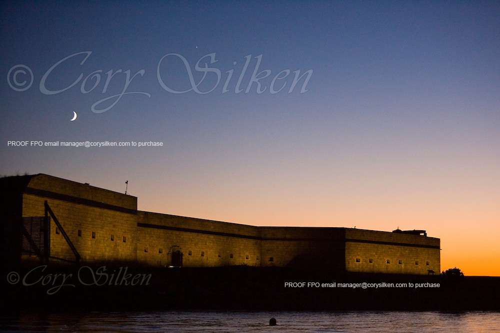 Fort Adams and Moon at sunset