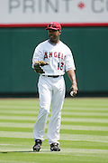 ANAHEIM, CA - APRIL 26:  Shortstop Orlando Cabrera #18 of the Los Angeles Angels of Anaheim warms up during the game against the Tampa Bay Devil Rays at Angel Stadium in Anaheim, California on April 26, 2007. The Angels defeated the Devil Rays 11-3. ©Paul Anthony Spinelli *** Local Caption *** Orlando Cabrera
