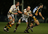 Photo: Rich Eaton.<br /> <br /> Worcester Rugby v London Wasps. Guinness Premiership. 26/01/2007. Lawrence Dallaglio captain of Wasps centre tries to stop Worcester centre Gary Trueman