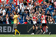Feyenoord-player Sven van Beek (R) celebrating the goal scored by Feyenoord-player Jan Arie van der Heijden (M) during the Dutch football Eredivisie match between Feyenoord and Excelsior at De Kuip Stadium in Rotterdam, on August 19th, 2018 - Photo Stanley Gontha / Pro Shots / ProSportsImages / DPPI