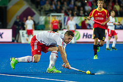 England's Mark Gleghorne. England v Spain - Unibet EuroHockey Championships, Lee Valley Hockey & Tennis Centre, London, UK on 25 August 2015. Photo: Simon Parker