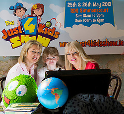 Repro Free: 22/05/2013 Emma Lyons-Duffy, age 7 from Clonee opens a world of wonder at the launch of Ireland's newest family event, The Just 4 Kids Show with Eileen Sheehy, Let's Go! Summer Camps (left) and Mary Mitchell O'Connor TD. The Just 4 Kids Show takes place this weekend Saturday, 25th May and Sunday, 26th May, 2013 in the RDS, Dublin. Tickets available at the door or  from www.just4kidsshow.ie  - adults ?10, kids GO FREE! Picture Andres Poveda.