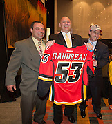 Johnny Gaudreau (Boston College) family with Calgary Flames jersey and hat during the 2014 Hobey Baker Award at the Loews Hotel, Center City in Philadelphia, PA Friday April 11th 2014<br /> <br /> <br /> Mandatory Credit: Todd Bauders/ ContrastPhotography.com