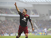Norwich City Bradley Johnson celebrates his goal during the Sky Bet Championship match between Brighton and Hove Albion and Norwich City at the American Express Community Stadium, Brighton and Hove, England on 3 April 2015. Photo by Phil Duncan.