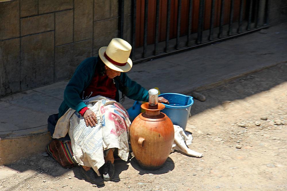 South America, Peru, Juliaca. A woman of Juliaca.
