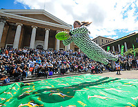 CAPE TOWN, SOUTH AFRICA - OCTOBER 15 2015,  during the Springbok 7's Try Dive competition at the University of Cape Town's Jameson Plaza for the Cape Town 7s taking place at Cape Town Stadium on12&amp;13 December 2015.<br /> Photo by Roger Sedres/ImageSA