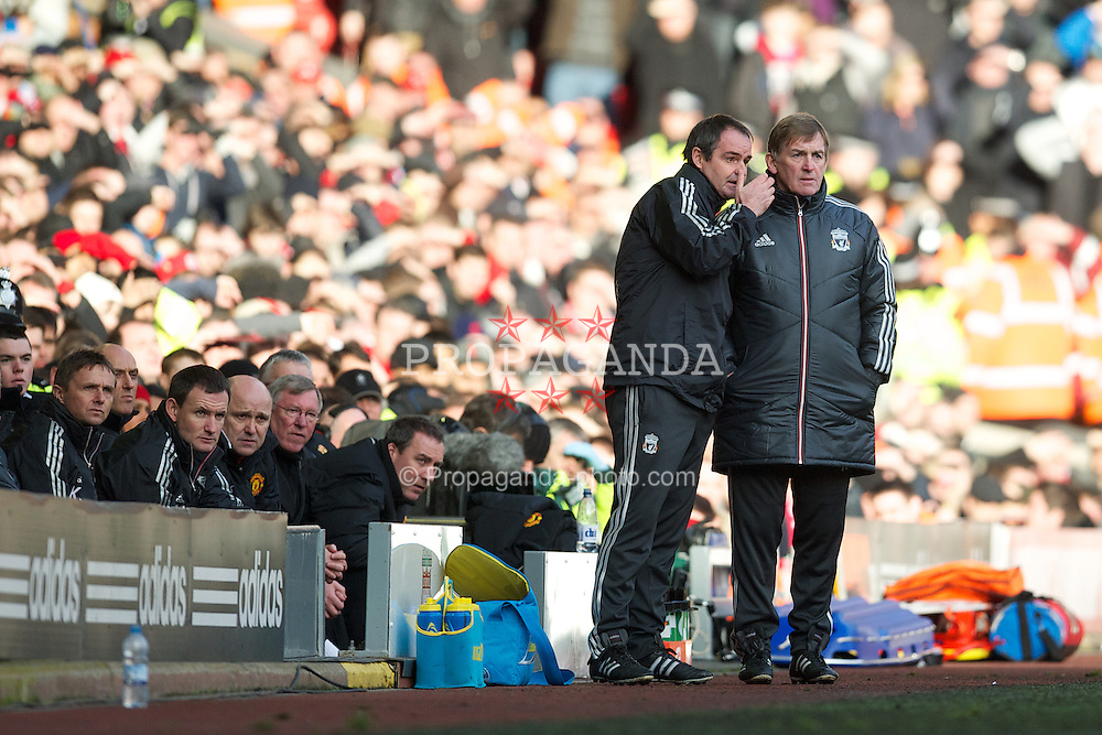 LIVERPOOL, ENGLAND - Saturday, January 28, 2012: Liverpool's manager Kenny Dalglish and assistant manager Steve Clarke against Manchester United during the FA Cup 4th Round match at Anfield. (Pic by David Rawcliffe/Propaganda)