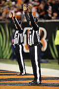 A pair of officials signal with their arms in the air that a second quarter field goal is good during the Cincinnati Bengals 2015 week 10 regular season NFL football game against the Houston Texans on Monday, Nov. 16, 2015 in Cincinnati. The Texans won the game 10-6. (©Paul Anthony Spinelli)