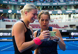 October 7, 2018 - Andrea Sestini Hlavackova & Barbora Strycova of the Czech Republic celebrate winning the doubles title at the 2018 China Open WTA Premier Mandatory tennis tournament (Credit Image: © AFP7 via ZUMA Wire)