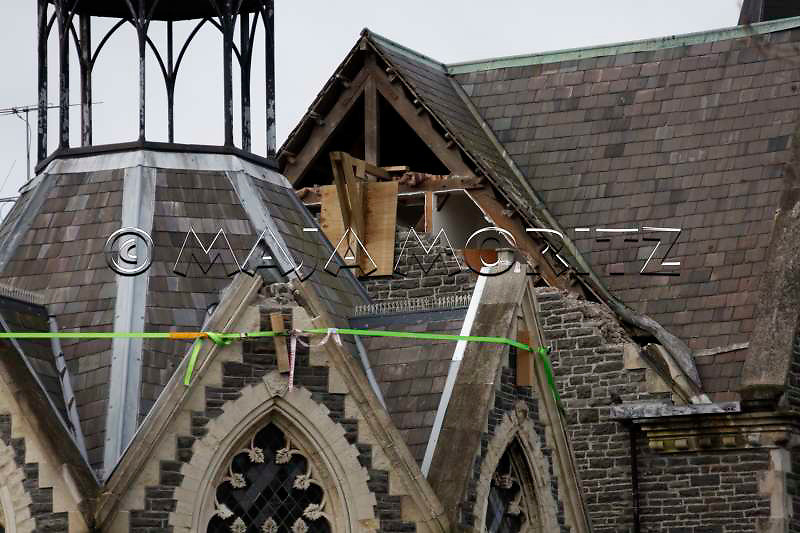 Earthquake damage to historical buildings on Cramner Square, central Christchurch, New Zealand