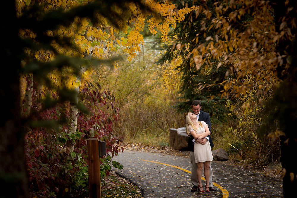 Paige Boumeester and Dan Schuenke pose during an engagement session in Vail, Saturday, Oct. 13, 2012. Photo by Justin Edmonds
