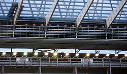 LIVERPOOL, ENGLAND - Sunday, April 10, 2016: New floodlights installed in the roof of Liverpool under-construction Main Stand before the Premier League match against Stoke City at Anfield. (Pic by David Rawcliffe/Propaganda)