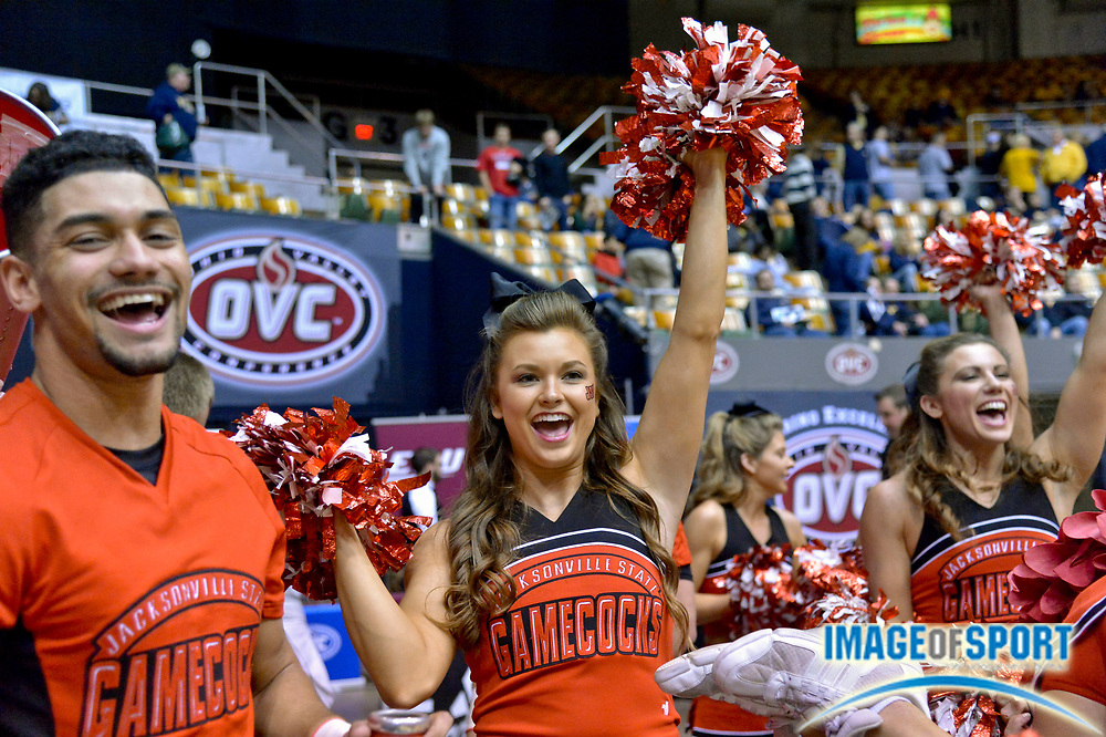 Mar 3, 2017; Nashville, TN, USA; Jacksonville State Gamecocks Cheerleaders celebrate their teams victory over the Belmont Bruins following game five of the OVC Conference Tournament at Municipal Auditorium. Jacksonville State won 65-59. Photo by Jim Brown