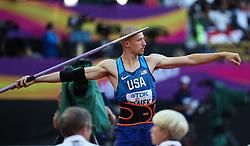 London, August 12 2017 . Zach Ziemek, USA, the men's decathlon javelin on day nine of the IAAF London 2017 world Championships at the London Stadium. © Paul Davey.
