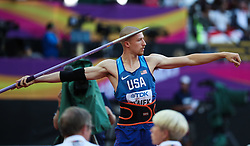 London, August 12 2017 . Zach Ziemek, USA, the men's decathlon javelin on day nine of the IAAF London 2017 world Championships at the London Stadium. © Paul Davey.