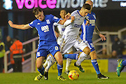 Birmingham City midfielder Stephen Gleeson (8) battles for possession with Ipswich Town striker Tom Lawrence (27) 2-0 during the EFL Sky Bet Championship match between Birmingham City and Ipswich Town at St Andrews, Birmingham, England on 13 December 2016. Photo by Alan Franklin.