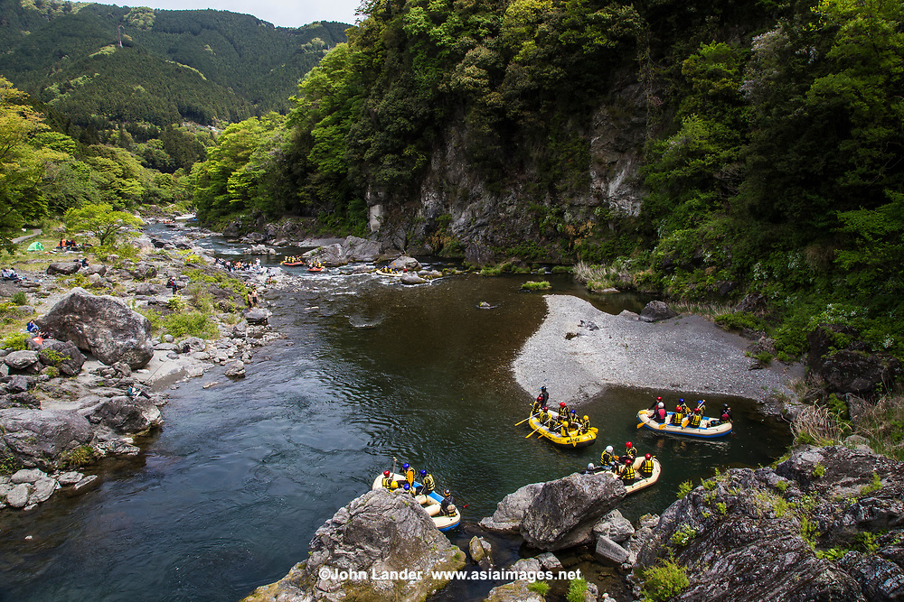 Okutama Rafting - White water rafting in the Tama River at Okutama.  Flowing from its source in the mountains in Yamanashi, the Tama River makes its way to the ocean after traversing a nearly 140 kilometer long path.  The river is dammed along the way, forming Lake Okutama, a major source of Tokyo's drinking water.  Many people enjoy a variety of water sports on the river. The Tama River provides the perfect location for packrafting. with over eight kilometers of rapids with crystal clear water that wind through native bush. There is plenty of wildlife to spot as you cruise down sections of unspoiled greenery - hard to believe you are within the city limits of Tokyo!
