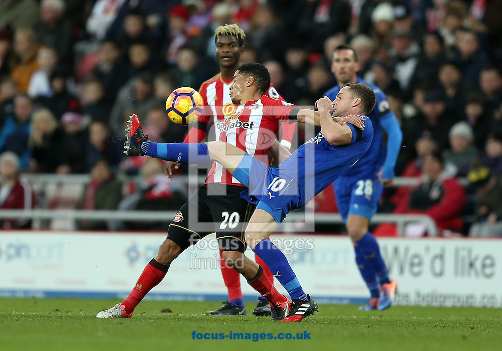 Steven Pienaar of Sunderland and Andy King of Leicester City during the Premier League match at the Stadium Of Light, Sunderland<br /> Picture by Christopher Booth/Focus Images Ltd 07711958291<br /> 03/12/2016
