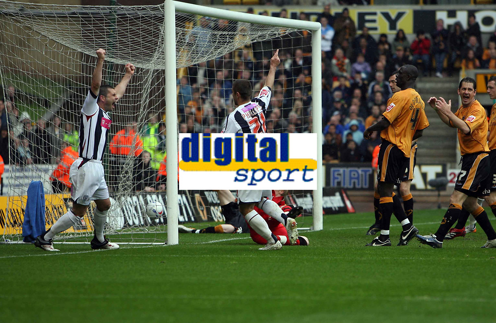 Photo: Rich Eaton.<br /> <br /> Wolverhampton Wanderers v West Bromwich Albion. Coca Cola Championship. Play off Semi Final, 1st Leg. 13/05/2007. West Broms Kevin Phillips #21 celebrates scoring in the second half to make it 2-2 with Paul Robinson left