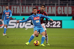 January 26, 2019 - Milan, Milan, Italy - Dries Mertens #14 of SSC Napoli competes for the ball with Lucas Paqueta' #39 of AC Milan during the serie A match between AC Milan and SSC Napoli at Stadio Giuseppe Meazza on January 26, 2018 in Milan, Italy. (Credit Image: © Giuseppe Cottini/NurPhoto via ZUMA Press)