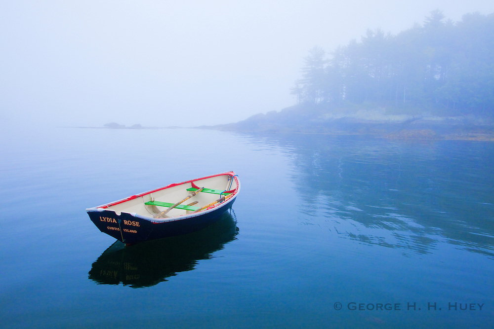 0905-1012 ~ Copyright: George H.H. Huey ~ Dinghy at anchor near Curtis Island, Camden, Maine.