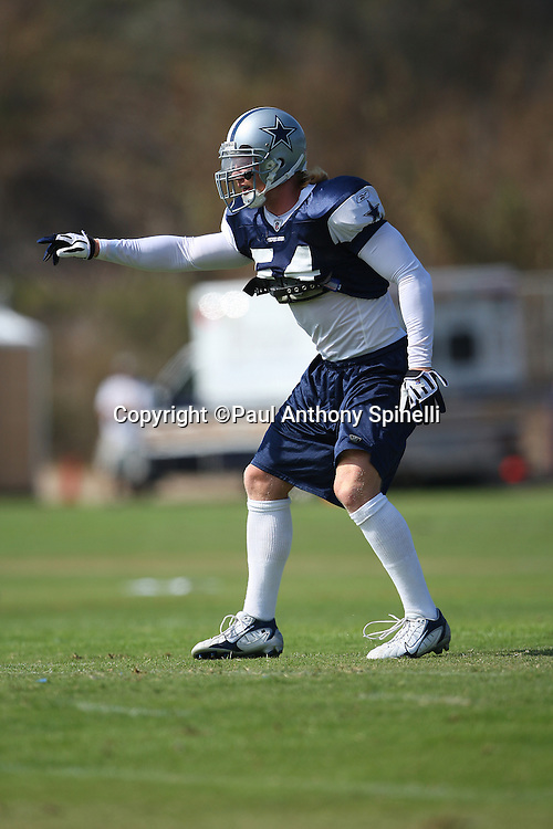 OXNARD, CA - JULY 26:  Linebacker Bobby Carpenter #54 of the Dallas Cowboys points toward the offensive formation during the 2008 Dallas Cowboys Training Camp at River Ridge Field in Oxnard, California on July 26, 2008. ©Paul Anthony Spinelli *** Local Caption *** Bobby Carpenter