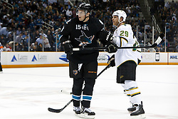 March 31, 2011; San Jose, CA, USA;  San Jose Sharks right wing Dany Heatley (15) is pushed by Dallas Stars center Steve Ott (29) before a face off during the first period at HP Pavilion. Mandatory Credit: Jason O. Watson / US PRESSWIRE